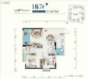 世康世纪城2室2厅2卫86平方米户型图