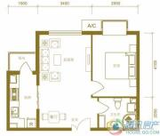 北京新天地1室2厅1卫61平方米户型图