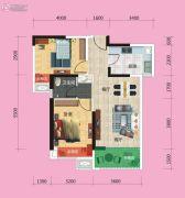广电兰亭时代2室2厅1卫80平方米户型图
