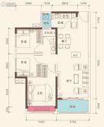 深业高榜山1号花园3室2厅1卫95平方米户型图