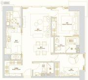 环球西安中心2室1厅2卫116平方米户型图