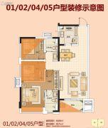 佛山万科城3室2厅2卫88平方米户型图