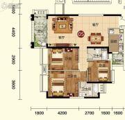 天鹅湾3室2厅2卫128平方米户型图