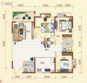 北海假日花园3室2厅2卫128平方米户型图