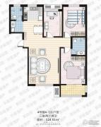 家合园二期3室2厅2卫124平方米户型图