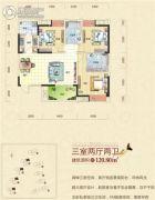 清江山水3室2厅2卫120平方米户型图
