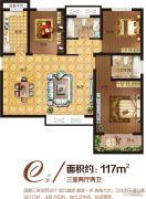 中南广场3室2厅2卫117平方米户型图