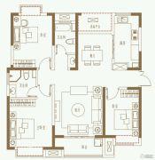 利港银河广场3室2厅2卫128平方米户型图