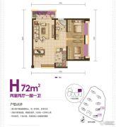 绿地・香树花城2室2厅1卫72平方米户型图