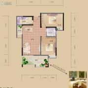 海赋长兴2室2厅1卫94平方米户型图