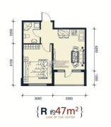 滨洲华府1室1厅1卫47平方米户型图