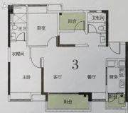 绿地丽雅香榭花城3室2厅2卫98平方米户型图