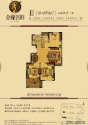 金鼎名府3室2厅1卫96平方米户型图