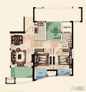 翡丽蓝湾3室2厅1卫88平方米户型图