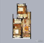 优山美地名邸2室2厅1卫87平方米户型图