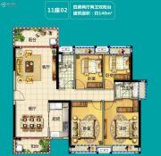 美的・花湾城3室2厅2卫115平方米户型图