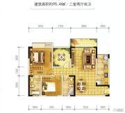 金江外滩2室2厅2卫95平方米户型图