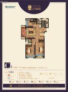 金辉天鹅湾3室2厅1卫105平方米户型图