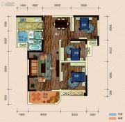 半山�庭3室2厅1卫102平方米户型图