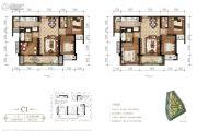 东原・观天下3室2厅2卫87平方米户型图