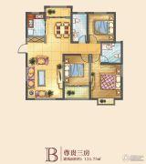 中迈红东方广场3室2厅2卫134平方米户型图