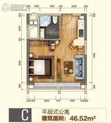 勤天汇1室2厅1卫46平方米户型图