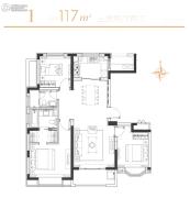 华发四季3室2厅2卫117平方米户型图