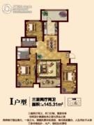 大成门3室2厅2卫145平方米户型图