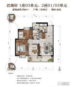骏凯豪庭2室2厅1卫88平方米户型图