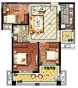 华强城3室2厅1卫89--90平方米户型图