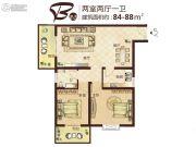 七里香堤2室2厅1卫84--88平方米户型图