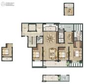 万科白石湖东4室2厅3卫166平方米户型图