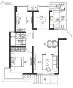 海岸城・郦园3室2厅1卫103平方米户型图
