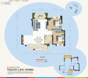 汇乐国际2室2厅1卫84平方米户型图