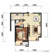 京贸国际城1室2厅1卫69平方米户型图