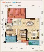 置地城二期・天玺3室2厅1卫82平方米户型图