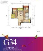 重庆万达城3室2厅2卫76平方米户型图