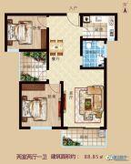 万新莱茵半岛2室2厅1卫88平方米户型图