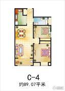 溪苑兰亭2室2厅1卫89平方米户型图