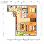 中泰美域2室2厅1卫88平方米户型图