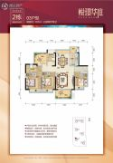 悦�Z华庭3室2厅2卫107平方米户型图
