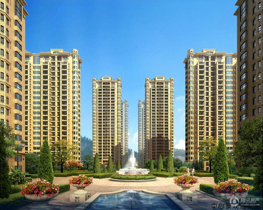 锦秀河山中心景观透视图