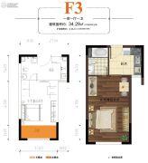 鼎弘东湖湾1室1厅1卫34平方米户型图