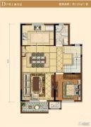 中冶沁海云墅1室2厅1卫129平方米户型图