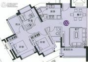 中森茗苑3室2厅1卫89平方米户型图