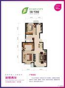 亿利华彩城3室2厅1卫90平方米户型图