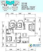 银城花园3室2厅2卫119平方米户型图