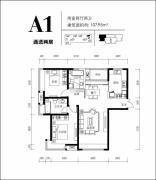 远洋城2室2厅2卫107平方米户型图