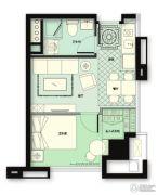 林荫大院1室2厅1卫53平方米户型图