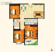 西城旺角3室2厅1卫107平方米户型图